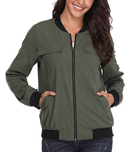 Jacken für Frauen leichten Bomber gepolsterte Gesteppte Stepp Outwear RV warme Halte Taschen Langarm Elegante Army Green - S