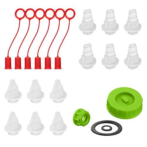BabeBot & HighBot Original Zubehör - FastCap Pinava Edition - Passend für alle 4oz & 6oz Leimflaschen - Alle Zubehörteile [Deckel & Haltering inkl. Dichtungen - Lid & Ring]