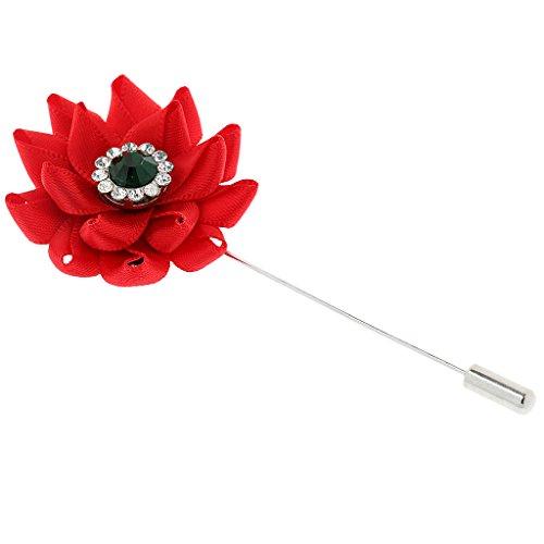 cknadel Brosche, Blumen Form, Ansteckblume Brooch Nadel Pins, Hochzeit Anzug Schmuck - rot (Rote Blume Pin Brosche)