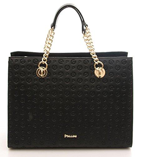 Pollini Heritage handbag Pu Tapiro Embossed calf leither black