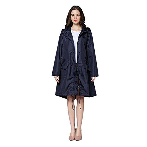 Meijunter Femmes Raincoat Imperméable Portable De plein air Randonnée Veste Anti-pluie Coupe-vent Fermeture éclair Poids léger Poncho Encapuchonné Vêtements de pluie Bleu
