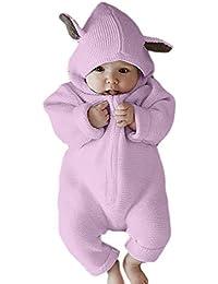 382121c3a45 Huateng Traje del bebé del Equipo Lindo Conejo Oreja con Capucha Mamelucos  del bebé para 0