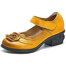 Socofy Mocasines Rojos Flores Velcro Zapatos de Mujer de Cuero de Ballet Vintage Zapatos Casuales Mujer