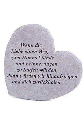 """Gedenkstein \""""Wenn die Liebe...\"""" aus Steinguss 17 x 15 cm Grabschmuck"""