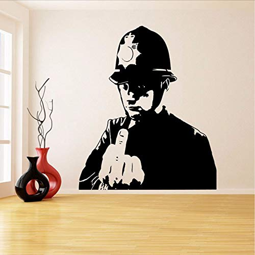 t Graffiti Vinyl Wandaufkleber Polizei Mittelfinger Zimmer Aufkleber Decor Scotland Yard Cop Street Art Design 42 * 50 Cm ()