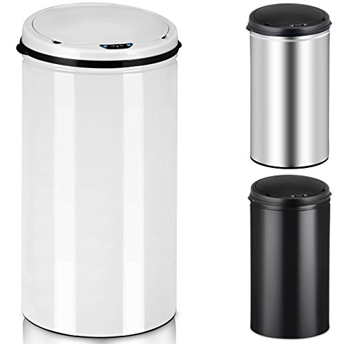 Sensor Mülleimer Müllbehälter Abfalleimer Abfallbehälter Edelstahl Papierkorb 56L weiß