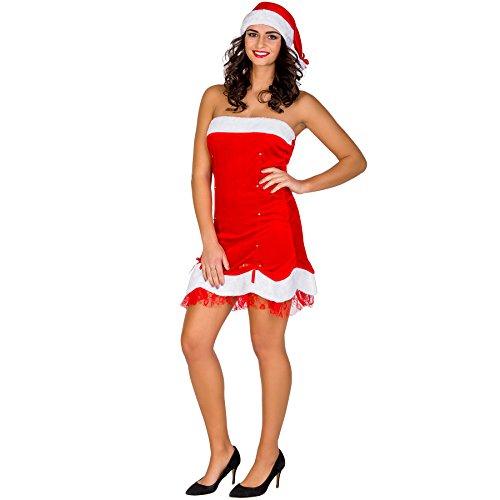 TecTake dressforfun Damenkostüm sexy Weihnachtslady Weihnachts Kostüm | kurzes Kleid & freche Zipfelmütze (S | Nr. 300521)