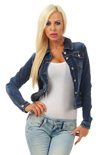5673 Fashion4Young Damen Jeansjacke Damenjacke Jeans Jacke Kurze Jacke Denim Jacke Stretch (blau, XL-42)
