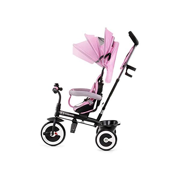 Kinderkraft Aveo KKRASTOPNK0000 Tricycle with Accessories in 3 Colours Pink kk KinderKraft Five point safety straps for the shoulders and an additional strap between the legs to protect the child from falling out A mechanism that connects the parent handlebar with the child's handlebar so that parents can have full control over the bike guidance when required. Free-wheel that causes the child to rmble freely regardless of the person who leads the bike 7