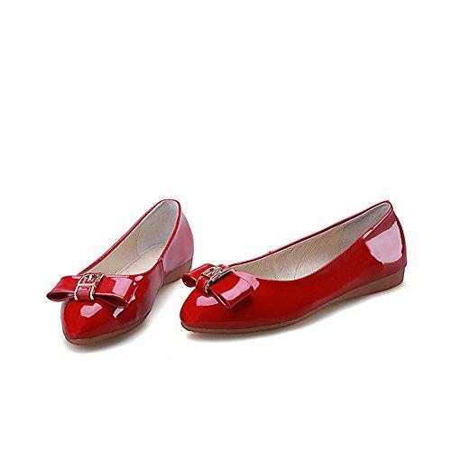 AllhqFashion Femme Non Talon Couleur Unie Tire Rond Chaussures à Plat Rouge