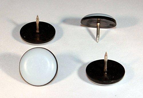 16 x Teflon-Möbelgleiter Ø 25 mm - 5 mm dick mit Nagel mit PTFE-Beschichtung Teflongleiter Gleiter Supergleiter Laflon Stuhlgleiter - Möbel Nagel