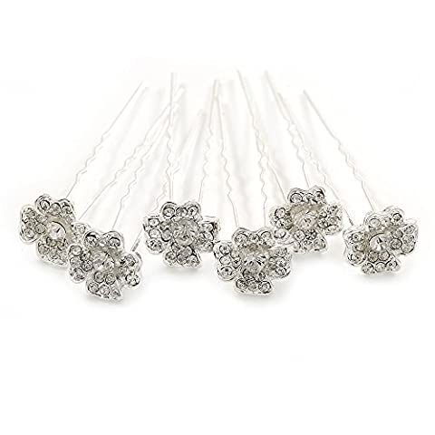 Bridal/ Wedding/ Prom/ Party Set Of 6 Clear Austrian Crystal Daisy Flower Hair Pins In Silver Tone by Avalaya