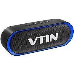 Enceinte Portable Bluetooth 5.0, VTIN R4 Haut Parleur Bluetooth 12W, Enceinte Waterproof, 24H de Lecture, avec Microphone, Support AUX/TF, pour Téléphone Portable, Tablette, Soirée, Voyage