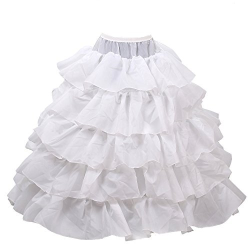 HIMRY Sottogonna Premium qualità, 4 cerchio Crinolina sottoveste, per Vestito Abito da Sposa, Taglia unica, Adatto per Taglia S, M, L, XL, XXL, bianco, KXB-003 white