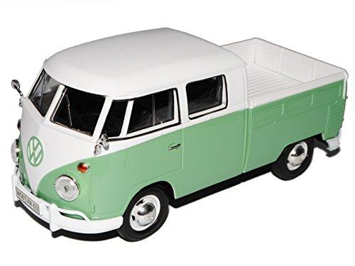 VW-Volkswagen-T1-Grn-Weiss-Pritsche-Samba-Bully-Bus-1950-1967-124-Motormax-Modell-Auto-mit-oder-ohne-individiuellem-Wunschkennzeichen
