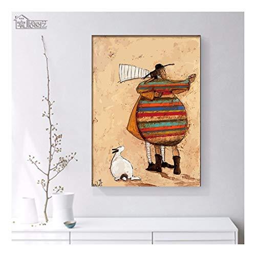 ZXJYH Rahmenlos Dekoration Malerei Abstrakte Kunst Mode Cartoon Zeichen Muster Wandbild Veranda Korridor Reiner - Ölgemälde Gemalt, 60 X 80 cm