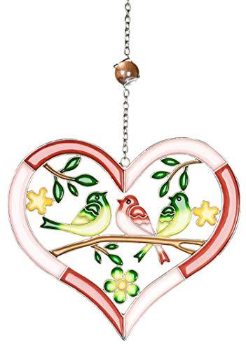 dekojohnson Moderne Fensterdeko Blume Fenster-Hänger Deko-Hänger Muttertag Tiffany Art Fensterbild Herz Vogel Rot 26cm