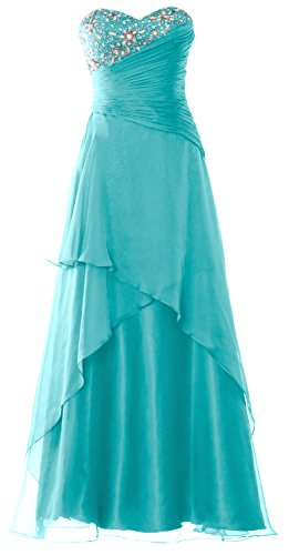 MACloth Strapless Long Prom Dress Crystals Tiered Chiffon Formal Evening Gown Turquoise