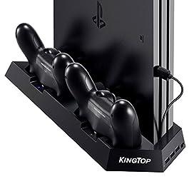 [PS4 PRO/SLIM / Classico] KingTop Doppia Stazione Ricarica Controller con doppia Ventola Di Raffreddamento per PS4 Classico, SLIM e Pro