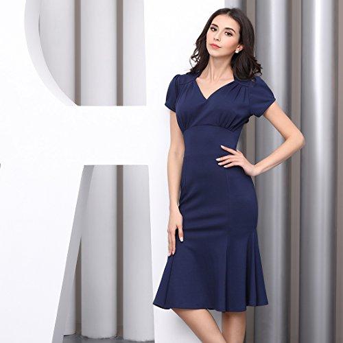 Miusol Damen Sommerkleid V-Ausschnitt Kurzarm 1950er Retro Fishtail?Buero Cocktail Kleid Blau EU 44/XL - 6