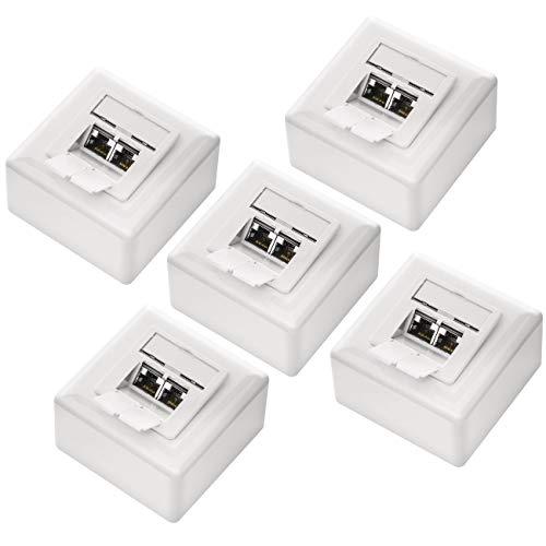 deleyCON 5X CAT 6a Universal Netzwerkdose im Set - 2X RJ45 Port - Geschirmt - Aufputz oder Unterputz - 10 Gigabit Ethernet Netzwerk - EIA/TIA 568A&B - Weiß