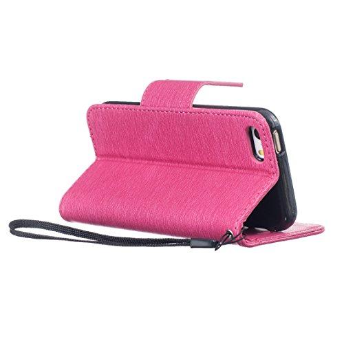 iPhone SE 5 5S Hülle - AYASHO® Flip-Case Handyhülle im Vintage-Stil mit Magnetverschluss Tasche Cover Lederhülle für Apple iPhone SE 5 5S,0.2m daten usb kabel enthalten (Rosa) Rosa