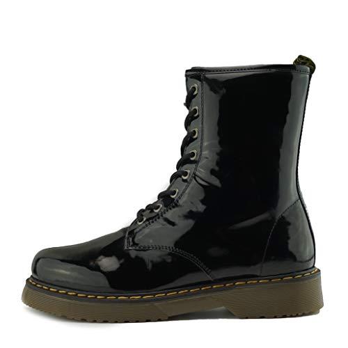 Kick Footwear Damen Knöchel Retro-Combat-Boot-Womens Lace Funky Vintage Goth Ankle Boot - UK 8/EU 41, Black Patent