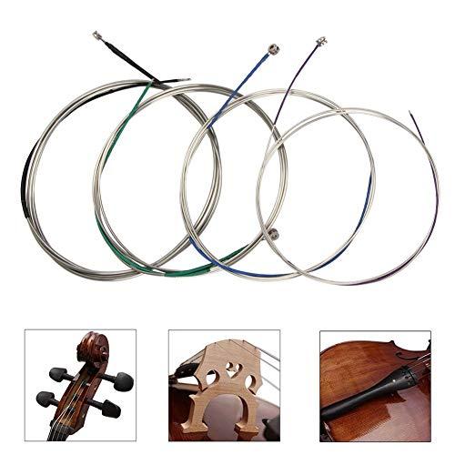 Cellosaiten Universal Kompletter Satz (A-D-G-C) Cello Saite Steel Core Nickel-Chrom umsponnen mit vernickeltem Kugelkopf für 4/4 3/4 1/2 1/4 Cellos-Imelod
