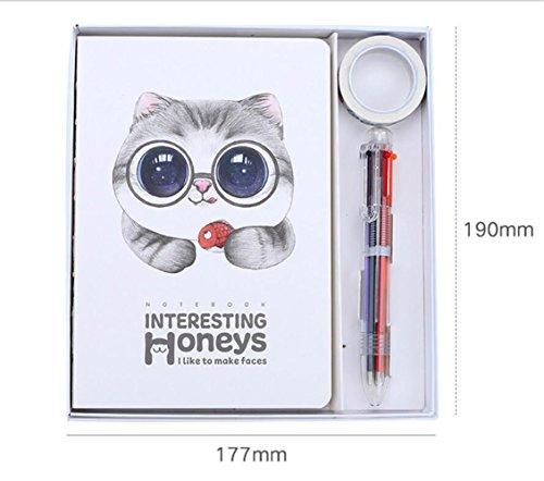 Individuelles exklusives Briefpapier-Präsentations Luxus-Notebook-Set mit 6 Farben Stift und Tage für Geschenk (Brille Katze)