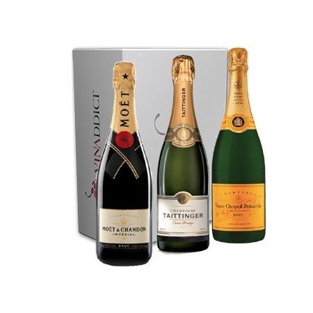 Vinaddict - Coffret Champagne Prestige - 3 Bouteilles 75Cl Sous Étuis - Veuve Clicquot, Taittinger Prestige, Moët Imperial.