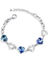 MARENJA Women's Heart of the Ocean Blue Austrian Crystal White Gold Plate 18-24cm