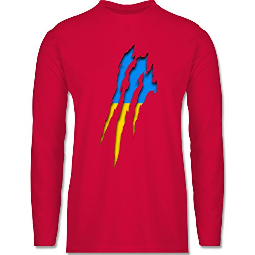 Shirtracer Länder - Ukraine Krallenspuren - Herren Langarmshirt Rot