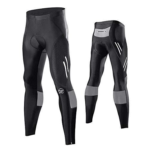 MEETWEE Herren Radlerhose Lange Fahrradhose, Kompression Radhose Leggings Radsport Hose für Männer Elastische Atmungsaktive 3D Schwamm Sitzpolster (Grau, XXXL)
