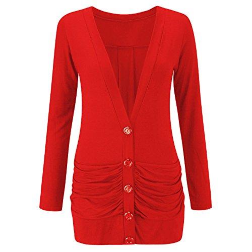 Gilet grande taille à manches longues froncées pour femme Rouge - Rouge
