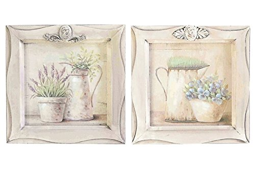 DiKasa Home Set Pannelli Vasi Fiori Shabby, Legno, Multicolore, 28x2x28 cm