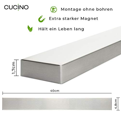 Soporte cuchillos cocina acero inoxidable 40 cm montaje en pared sin taladro con banda adhesiva 3M VHB Barra magn/ética porta cuchillos de cocina