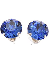 pewterhooter 925 Sterling Silver stud earrings expertly made with sparkling Sapphire Blue crystal from SWAROVSKI® for Women