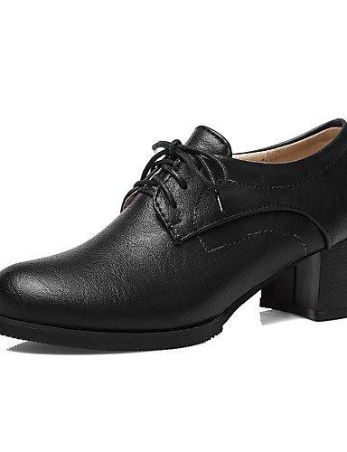 WSS 2016 Chaussures Femme-Extérieure / Bureau & Travail / Habillé-Noir / Blanc / Amande-Gros Talon-Talons / Confort / Bout Arrondi-Talons- white-us5 / eu35 / uk3 / cn34