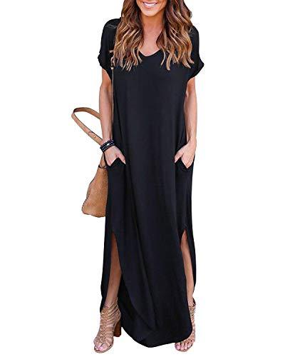 YOINS Robe Femme Manches Longues Robe Maxi Longue Chic Robe de Plage Asymétrique Robe Tunique Bohême Grand Taille, Noir,  EU 36-38(S)
