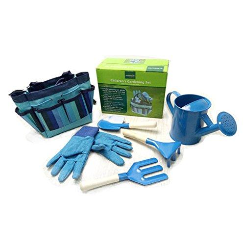 JOYKK Little Gardener Werkzeugset mit Tasche Kinder Kinder Gartenarbeit Jungen Mädchen Geschenk Spielzeug - Blau