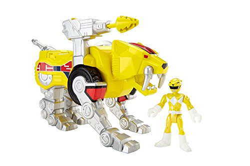 Imaginext CJR26 Power Rangers Figurines Ranger Jaune et Sabertooth Zord