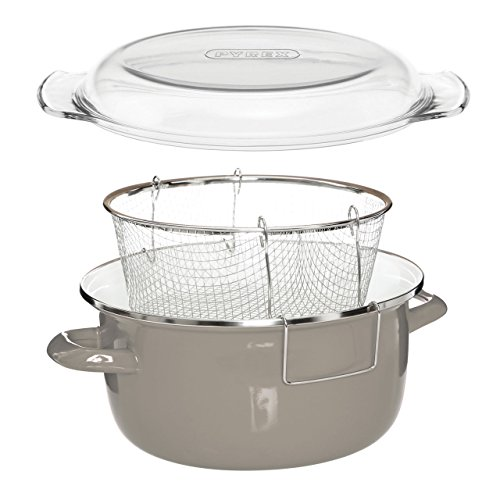 41CCyThQlVL. SS500  - 5 Litre Enamel Deep Fat Fryer Chips Pot Metal Handle W/Pyrex Lid (Grey-Enamel)