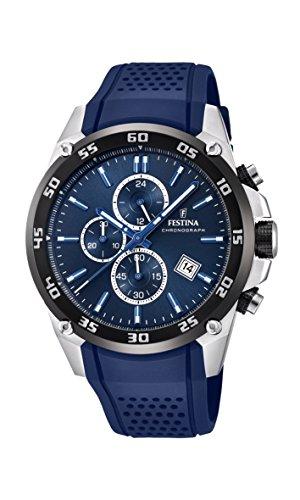 Festina Unisex Erwachsene Chronograph Quarz Uhr mit Leder Armband F20330/2 - Uhren Festina
