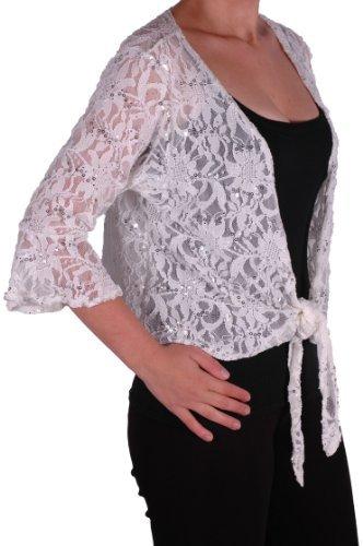 Lace-seide-cardigan (Eyecatch - Darcey Damen Pailletten Cardi Tie Shrug Lace Strickjäckchen Bolero Top Frauen White Plus Size 44 - 46)