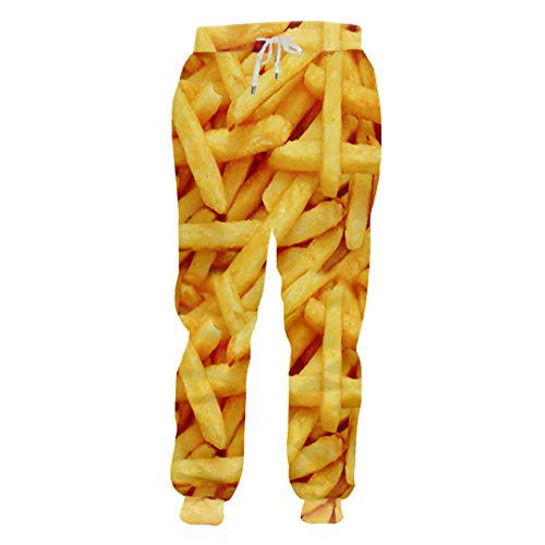 Womens Kostüm Rost - Joggerhosen Männer Loose Food 3D Sweat Pants Print Französisch Fries Chips Streetwear Kostüm Mann Jogginghose French Fries Chip 5XL