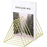 House of Quirk Magazine Holder, Desktop File Sorter Organizer, 9 Slot Triangle Shape, (Size: 18H x 26L x 17W) cm - Gold