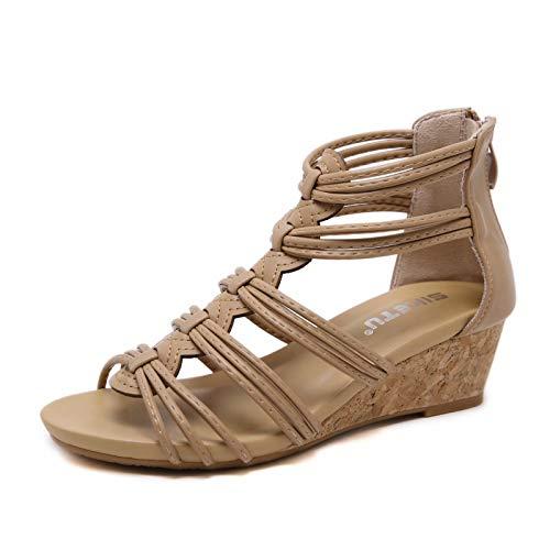 visionreast Damen Sandalen mit Keilabsatz Bequeme Frauen Open Toe Keilsandalen Keilsandaletten mit Reißverschluss hinten, Beige, 41 EU Beige Sandalen