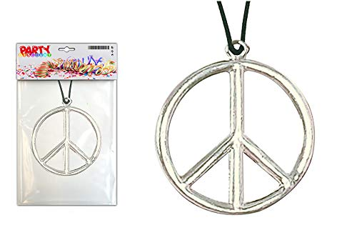 Kostüm Men's Woodstock - PARTY DISCOUNT ® Kette Peace-Zeichen aus Metall, Ø 5cm