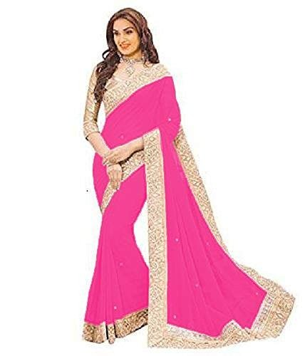 Onlinehub Women's Sarees Clothing Saree For Women Latest Design Collection Georgette Material Latest Sarees With Designer Beautiful Bollywood Sarees For Women Party Wear Offer Designer Sarees With Blouse Piece New Collection sari )(Rani Pink Patta With Hand Work)  available at amazon for Rs.475