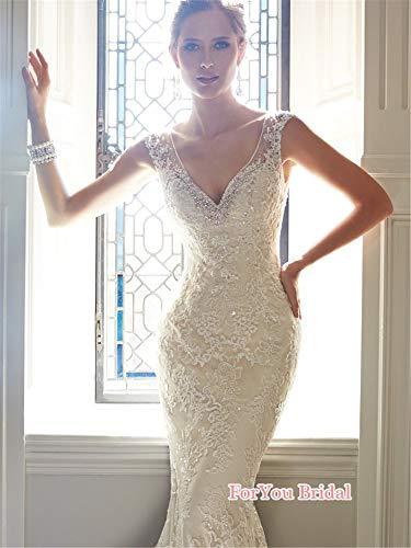 Abito da Sposa, Donna Pronovias Elegante Abito da Sposa Abiti di Nozze V-Neck Sirena Abiti M